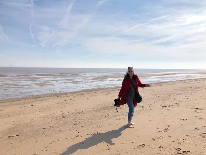 Fotka studentky na Anglické pláži
